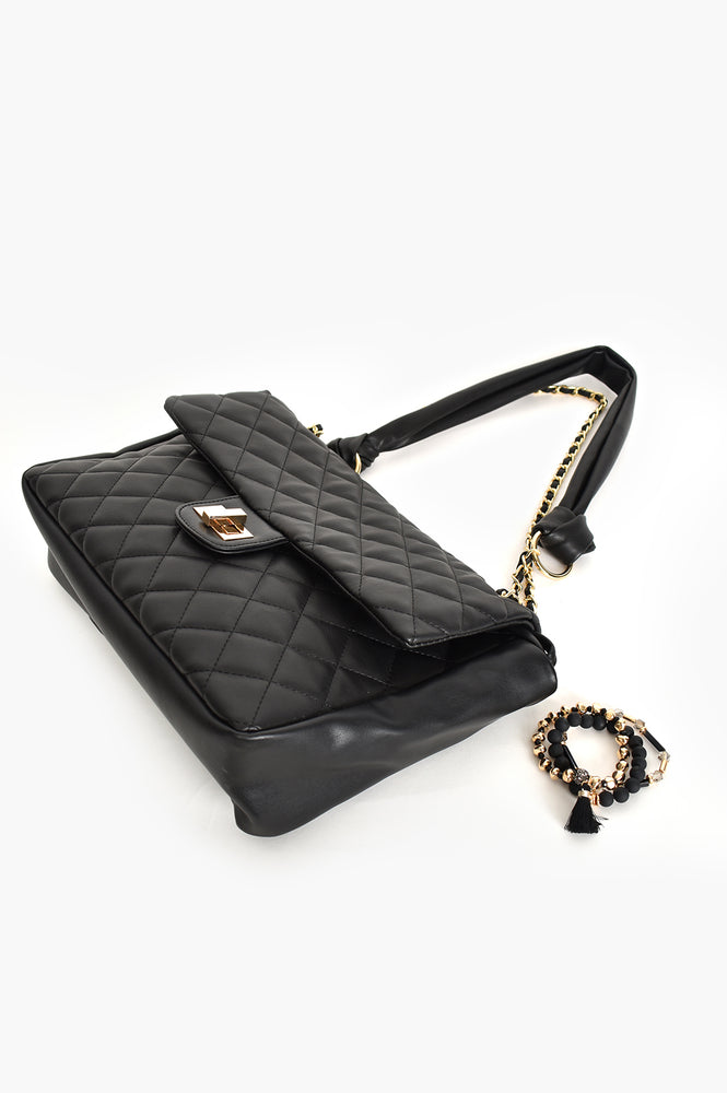 Louisa Quilted Chain Shoulder Bag (Black)