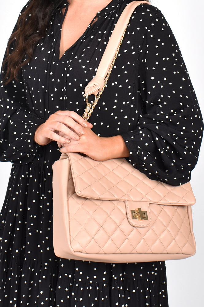 Louisa Quilted Chain Shoulder Bag (Nude)