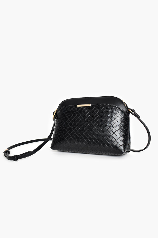 Cynthia Plait Pattern Crossbody Bag (Black)