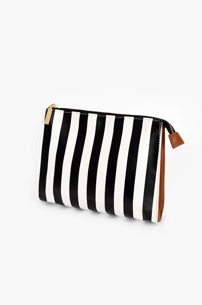 Stripe Tan Toiletries Bag (Black/White/Tan)