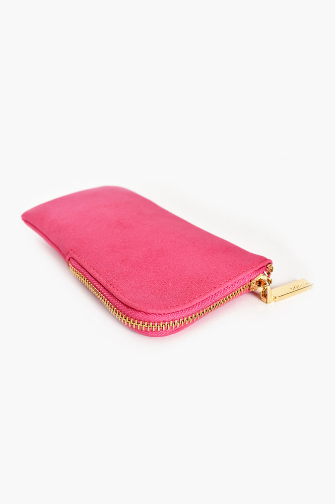 Faux Suede Sunglasses Case (Hot Pink)