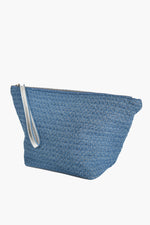Textured Denim Makeup Case (Denim/Silver)
