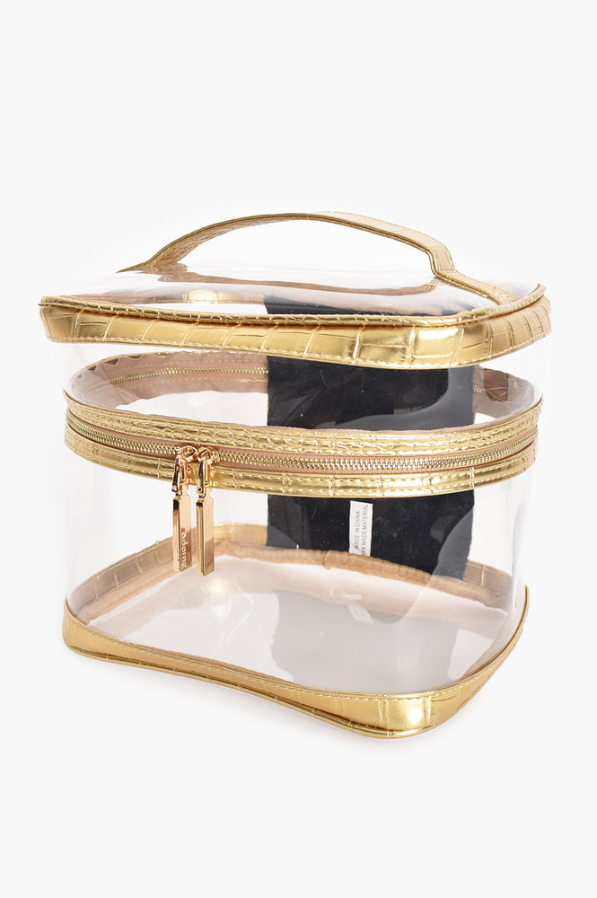 Croc Clarity Toiletries Case (Gold/Clear)