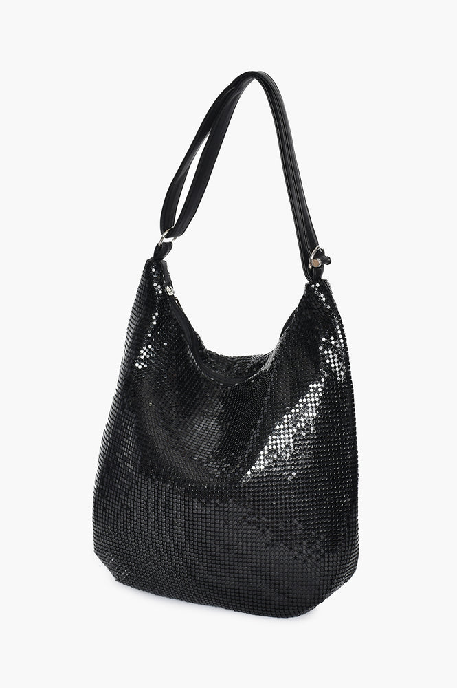 Mesh Slouch Hand Bag (Black)