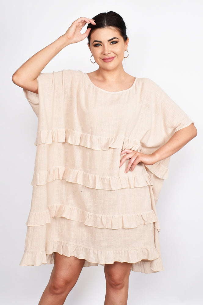 Antonia Ruffle Short Dress (Natural)