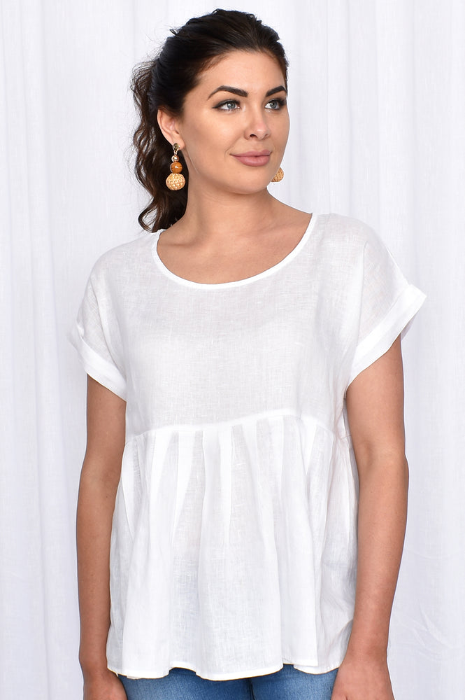 May Linen Top (White)
