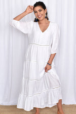 Stevie Boho Layered Button Dress (White)