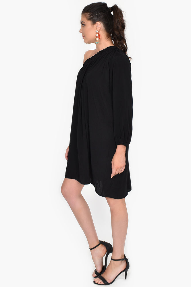 Cleo One Shoulder Dress (Black)