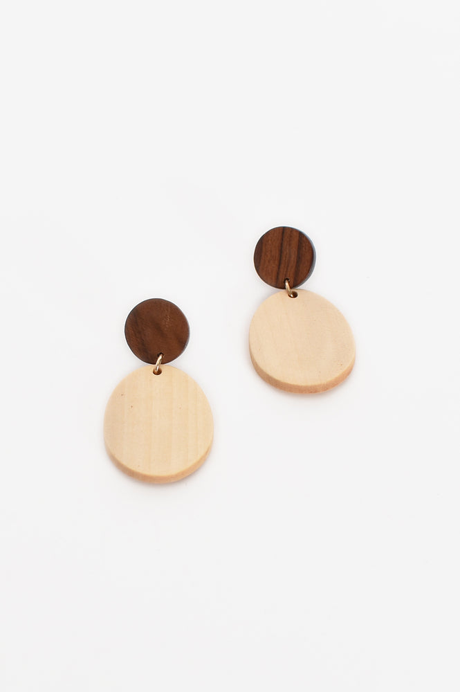 Everyday Timber Oval Drop Earrings (Natural)
