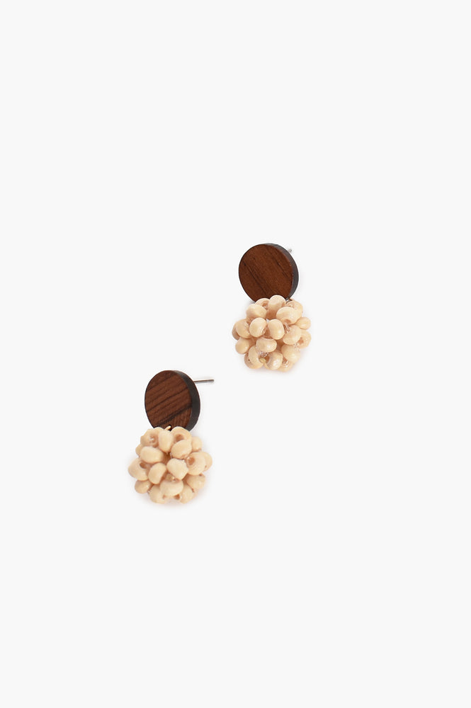 Timber Bauble Drop Earrings (Natural)