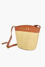 Weave Trim Toggle Front Bucket Bag (Natural/Tan)
