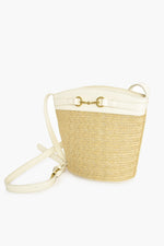 Weave Trim Toggle Front Bucket Bag (Natural/White)