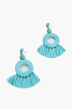 Raffia Ring Tassel Earrings (Blue)