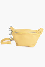 Zip Front Cross Body Chain Detail Bag (Yellow)