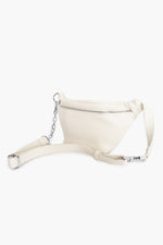 Zip Front Cross Body Chain Detail Bag (White)