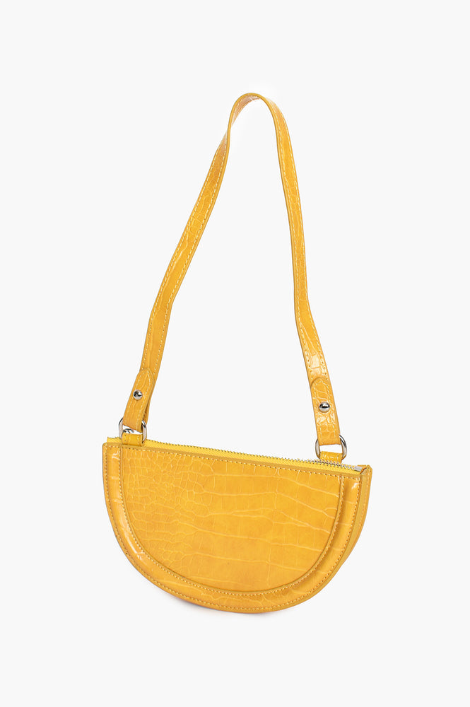 Curved Croc Small Bag (Yellow)