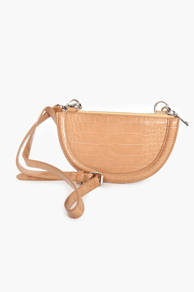 Curved Croc Small Bag (Nude)