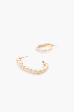 Wired Pearl Hoop Earrings (Cream/Gold)