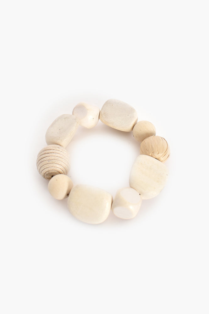 Mixed Weave Timber Stretch Bracelet (Natural/White)