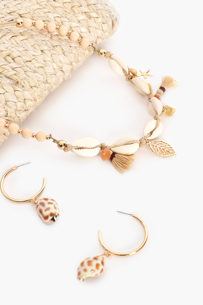 Edged Shell Drop Hoops (Gold/Tan)