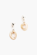 Shell Linked Drop Earrings (Silver/Cream)