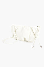 Curved Pleat Small Bag Knot Handle (White)