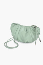 Curved Pleat Small Bag Knot Handle (Green)