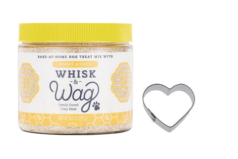 Includes 1 Jar of Whisk & Wag Honey & Oat Bake at Home Dog Treat Mix plus 1 heart shaped cookie cutter It's easy! Just add oil and water and follow simple instructions for fresh baked treats Makes over two dozen individual treats. Peel off the easy-remove label to re-use the durable jar. No wheat, corn, soy or preservatives this natural recipe is made in Ohio, USA with the best ingredients The whole family will love baking these homemade treats for the furriest member of the family