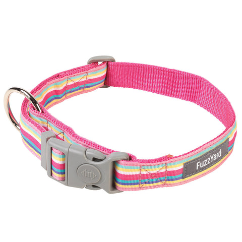 Pink Candy Stripe Dog Collar