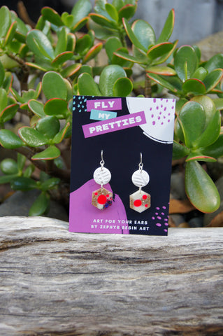 Glitter Hex Clay Hook Earrings