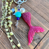 Dark Pink Mermaid Tail Sparkle Keychain - with seahorse charm