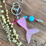 Pastel Pink Mermaid Tail Sparkle Keychain - with sea shell charm