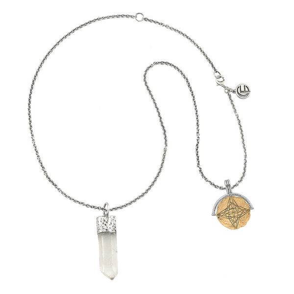 DIVINE HEART NECKLACE WITH QUARTZ CRYSTAL