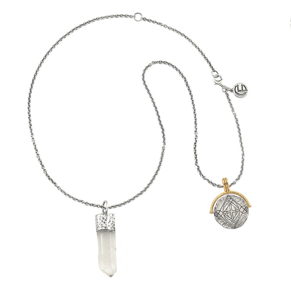 DIVINE PROTECTION NECKLACE WITH QUARTZ CRYSTAL