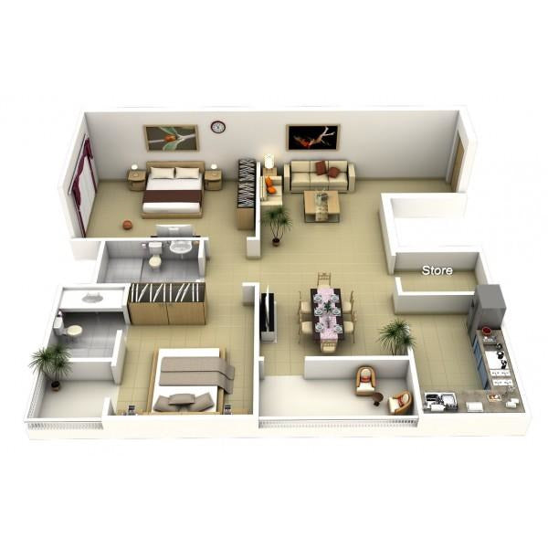 2 Bedrooms Apartment Furniture Package ( From 100 sqm )