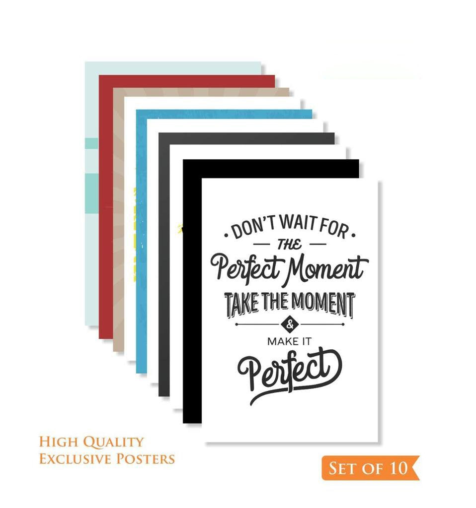 Motivational Positive Office Quotes Posters- 12 x 18 inch (Pack of 10)