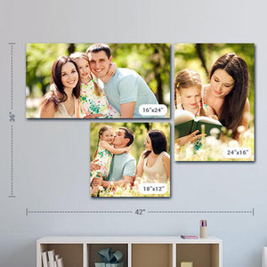 Personalised Gift for Family Photo Frames Personalised Framed Canvas Set of 3| Size - (42 x 36 inch)