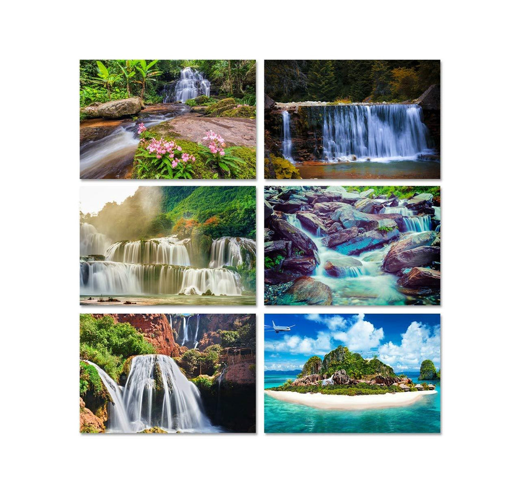 Nature Wildlife Farmlands Jungle Waterfalls Photo Poster(Set of 6)