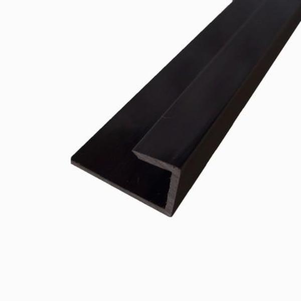 End Cap Trim Black Finish, or J Trim, Universal Trim or Starter Trim, for 10mm Cladding Wall Panels 2.4m Long - Claddtech