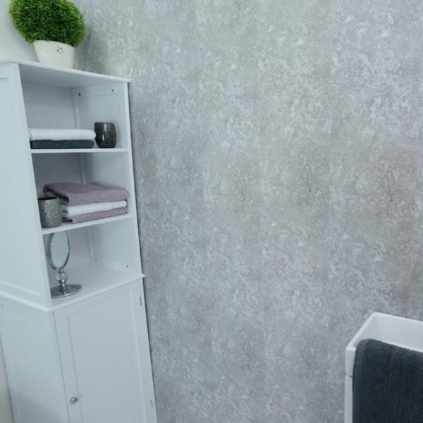 Concrete Grey 5mm Bathroom Wall Panels PVC 5mm Thick Cladding 2.6m x 250mm - Claddtech