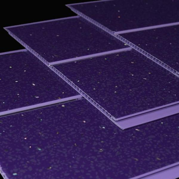 Purple Sparkle and Twin Chrome Bathroom Wall Panels PVC 5mm Thick Cladding 2.6m x 250mm - Claddtech