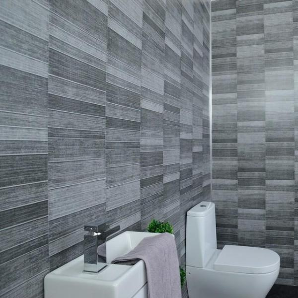 Grey Anthracite Tile Effect Bathroom Wall Cladding Shower Panels 2.6m x 0.25m x 5mm - Claddtech