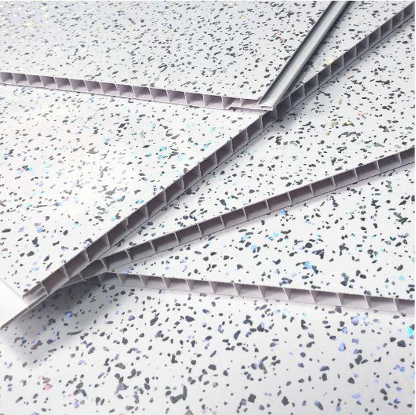 Platinum White Sparkle 5mm Wall Cladding For Bathrooms 2.6m x 0.25m - Claddtech