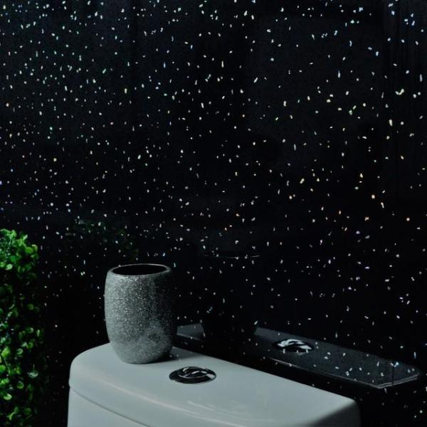 Black Sparkle Bathroom Wall Panels PVC 5mm Thick Cladding 2.6m x 250mm - Claddtech