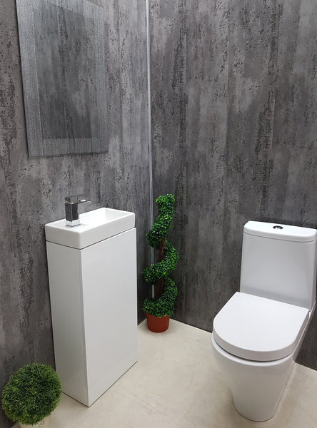 Anthracite Mist Grey Bathroom Wall Panels PVC 5mm Thick Cladding 2.6m x 250mm - Claddtech