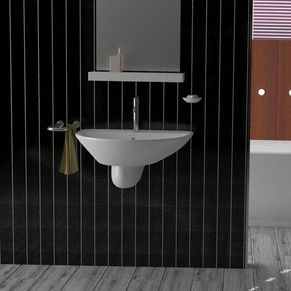 Black Sparkle with Twin Chrome Strip Bathroom Wall Panels PVC 5mm Thick Cladding 2.6m x 250mm - Claddtech