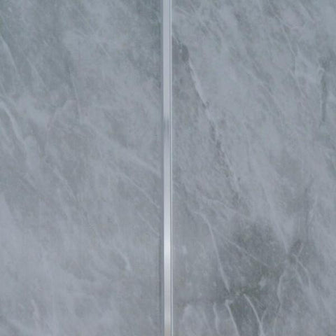 Grey Marble & Twin Chrome Strip Bathroom Wall Panels PVC 8mm Thick Cladding 2.6m x 250mm - Claddtech