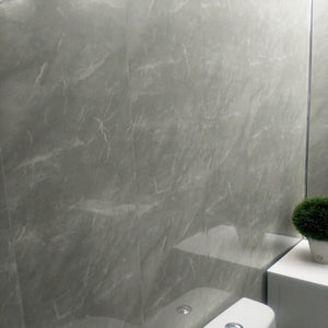 Grey Marble Bathroom Wall Panels PVC 8mm Thick Cladding 2.6m x 250mm - Claddtech