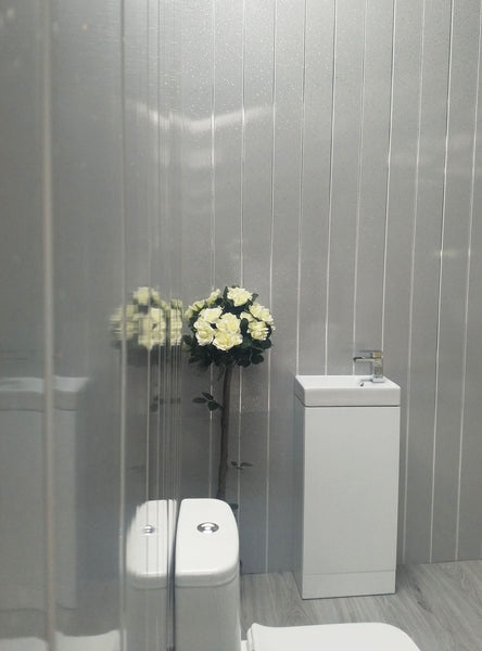 Grey Sparkle & Chrome Bathroom Wall Panels PVC 5mm Thick Cladding - Claddtech