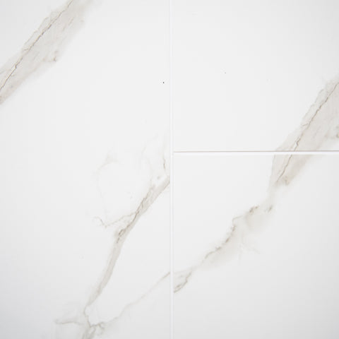 White Marble Tile Groove Bathroom Wall Panels 8mm Shower Cladding - Claddtech